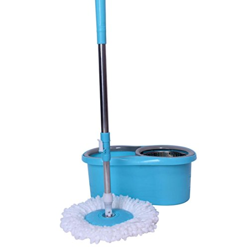 Anferstore 2 Microfiber Mop Heads Set Stainless Steel Double Drive Rotary Mop 360-Rotating For Home Kitchen Floor Cleaning - Wet/Dry Usage on Hardwood & Tile Floor Cleaning Tool -