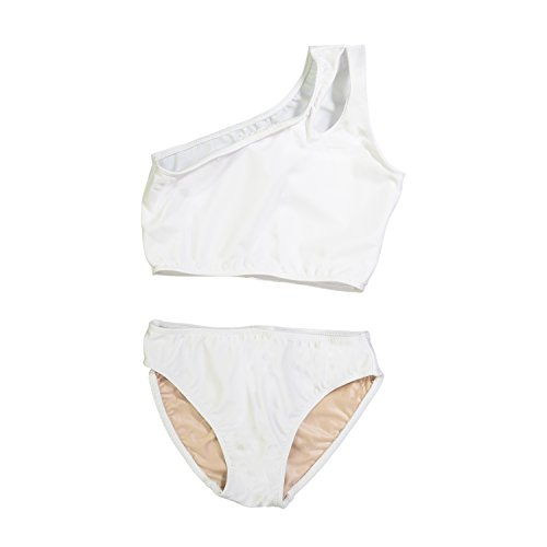 Cheryl Creations Kids Girl's White Cute & Comfortable Two Piece One Shoulder Bathing Suit Bikini | Swimsuit M 10/12