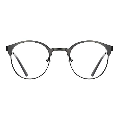 TIJN New Round Metal Non-Prescription Glasses Frame with Clear -