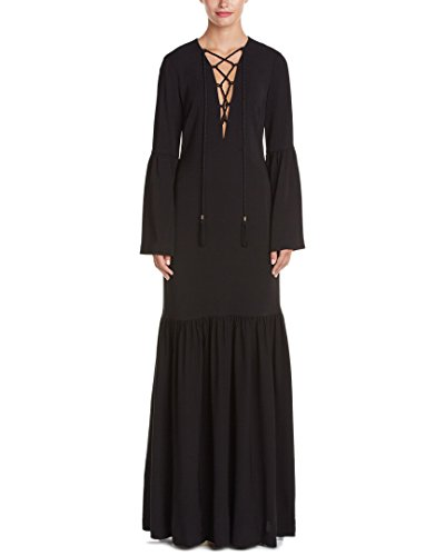 Boho-Chic Vacation & Fall Looks - Standard & Plus Size Styless - Rachel Zoe Womens Pax Lace-Up Gown, 2, Black
