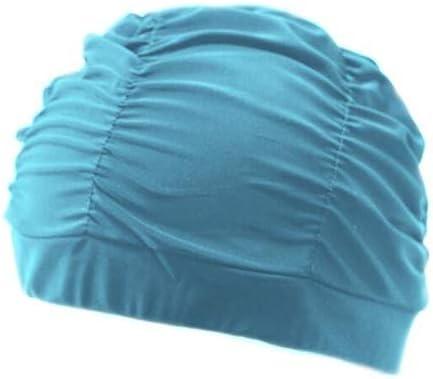 Gorros Plisado pétalo de la Flor Tela baño Swim Piscina Playa Mar Proteger los oídos de Pelo Largo Que se bañan capsula los Sombreros for niñas Mujeres jóvenes (Color : Pleated Lake Blue)
