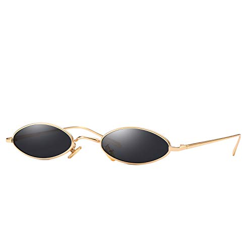 Trendy Fashion Metal - AOOFFIV Vintage Slender Oval Sunglasses Small Metal Frame Candy Colors