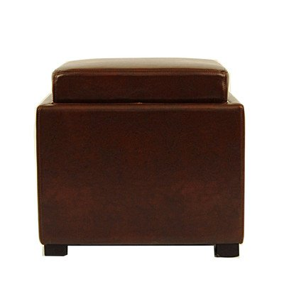 Safavieh Hudson Collection Kaylee Leather Single Tray Square Storage Ottoman, - Kaylee Collection