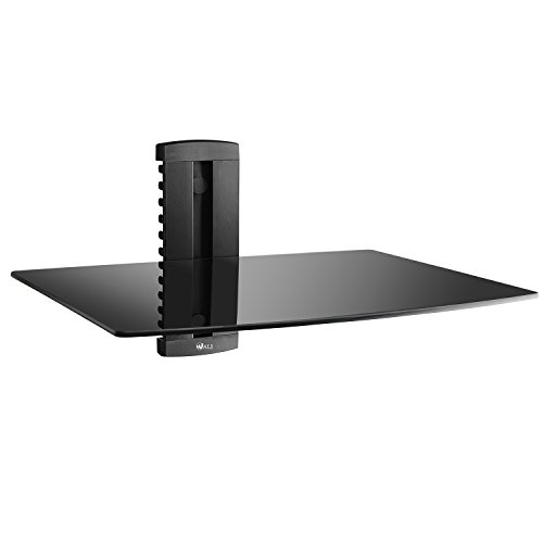 Wall Furniture Av Mounted (WALI CS201-1 Floating Wall Mounted Shelf with Strengthened Tempered Glasses for DVD Players,Cable Boxes, Games Consoles, TV Accessories, 1, Black)