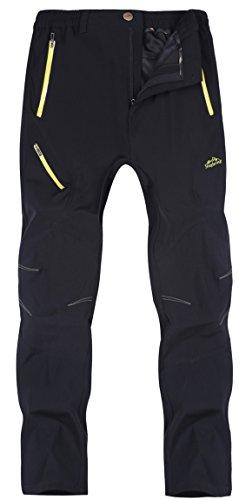 KAISIKE Men's Outdoor Quick-Dry Hiking Pants Waterproof Lightweight Pants(Bo-M05-Black-L)
