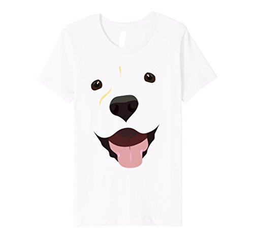 [Kids Labrador Face Shirt | Funny Cute Lab Dog Costume T-Shirt 6 White] (Black And White Puppy Toddler Child Costumes)