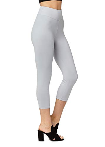 (Super Soft High Waisted Leggings for Women - Capri Grey - Large/X-Large (12-22) - Plus)