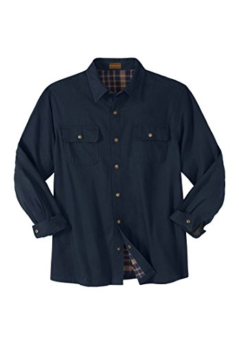 Boulder Creek Men's Big & Tall Flannel-Lined Twill Shirt Jacket, Navy Big-XL (Lined Snap)
