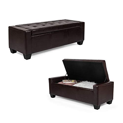 """Furnistar Rectangular Tufted Accents Storage Ottoman Bench Footstool, 51""""x20""""x17"""" (Brown, Leather) from Furnistar"""