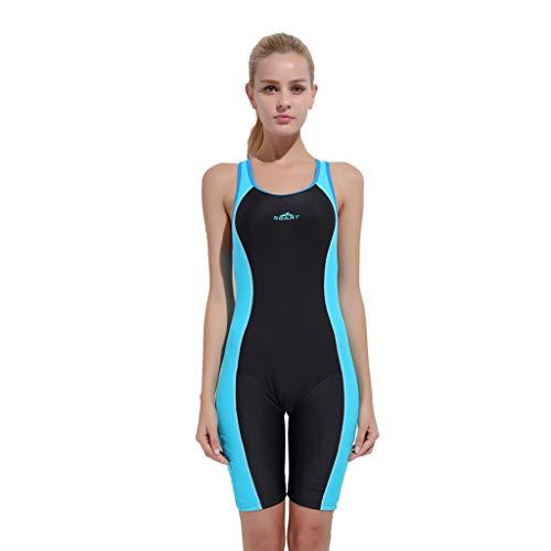 YEZIJIN Women Swimsuit Sexy One Piece Bodysuit Swimwear Professional Sport Bathing Suit Wetsuit top Long/Short Sleeve Sky Blue by Yezijin_Swimsuit (Image #3)