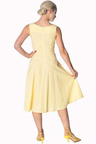 Größe Plus Floral Tage Retro Gelb Kleid Vintage Banned 7qvzwxt