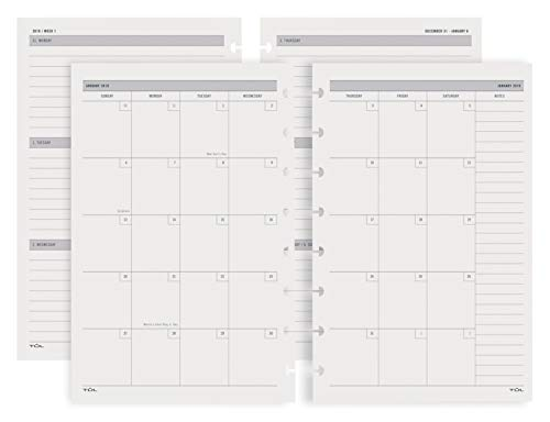 TUL Custom Note-Taking System Discbound Weekly/Monthly Refill Pages, 5 1/2