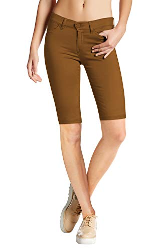 (HyBrid & Company Womens Perfectly Shaping Hyper Stretch Bermuda Shorts B44876 Tobacco S)