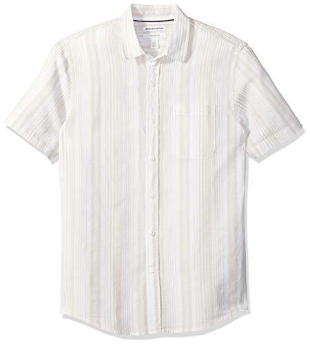 Amazon Essentials Men's Slim-Fit Short-Sleeve Stripe Linen Shirt, Natural, X-Small