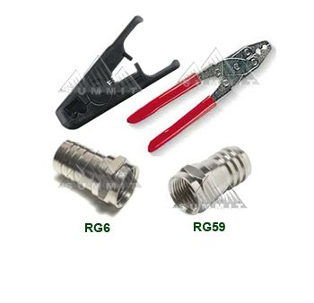 Cable Connector Kit Crimper Tool Cable Stripper Connectors 10 Connectors Each Size for RG59 RG6 Cable Off Air Satellite Jumpers Extensions