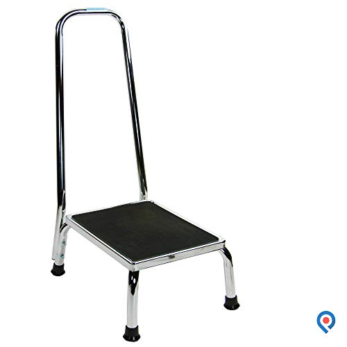 Pivit Heavy-Duty Chrome Plated Steel Step Stool with Stability Handle & Non-Slip Textured Matting | Elderly Fall Prevention Anti-Slip Platform Grips Slip-Resistant Feet | Lightweight Portable Design