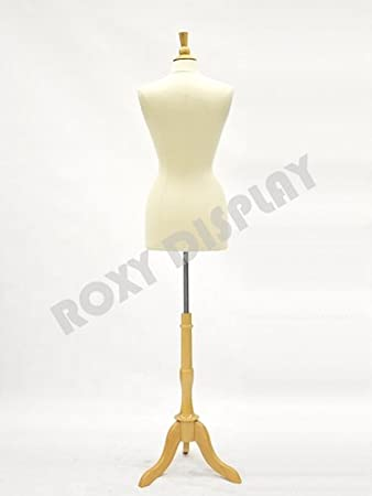 JF-F6//8L+BS-01NX ROXYDISPLAY/™ Female Body Form with Linen White Cover Size 6-8