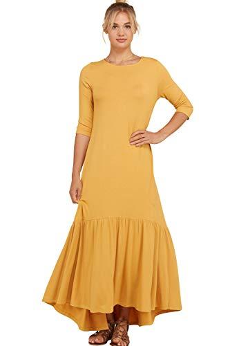 Annabelle Women's Shirred Gathering at Hem Ruffle Detail Maxi Plus Size Dress Mustard XX-Large ()