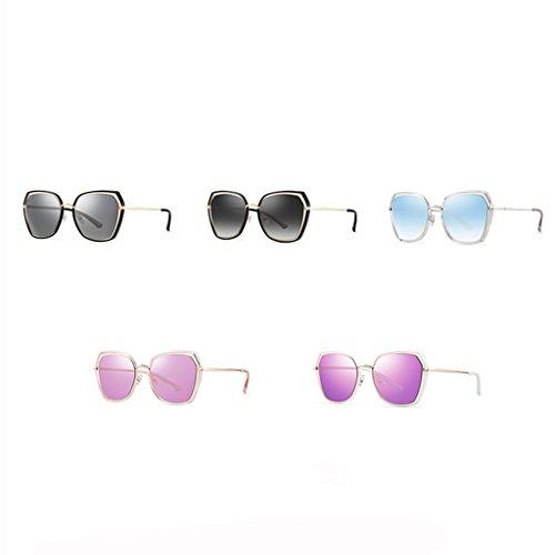 soleil visage de lunettes polarisé soleil dame Gris femmes lunettes de rondes Clair Lunettes UFSqf5w5