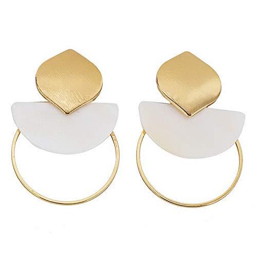 Endicot Fashion Pearl Shell Asymmetry Geometric Ear Hoop Stud Earrings Woman Jewelry | Model ERRNGS - 16762 |
