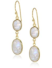 Gold-Plated Sterling Silver Faceted Rainbow Moonstone Oval Bezel Drop Earrings