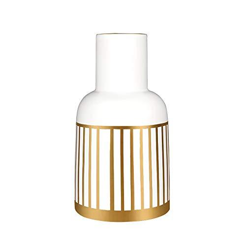 HCHLQLZ 20.5cm Blanco Dorado Decorativos Modernos Ceramica Jarrones de Flores para Mesa de Comedor Sala de Estar Idea Regalo para Cumpleanos Boda Navidad
