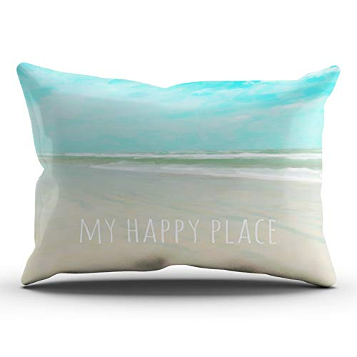 - XIUBA Pillowcases Aqua Mint and White My Happy Place Turquoise Sky Beach Scene Customizable Cushion Decorative Rectangle 20X36 inch King Size Throw Pillow Cover Hidden Zipper One Sided Design Printed