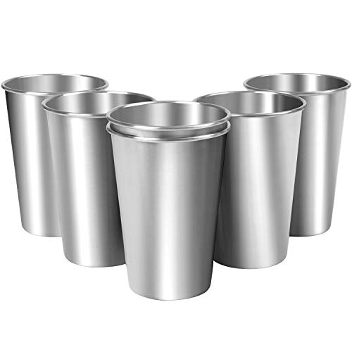 Aneco 6 Pack 16 Ounce Stainless Steel Cups Shatterproof Pint Cup Tumblers Unbreakable Metal Drinking Glasses (6, 17 oz / 500 ml) (Steel Glass Stainless)