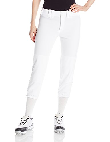 Mizuno Women's Select Belted Piped Pant (White/Navy, Medium)
