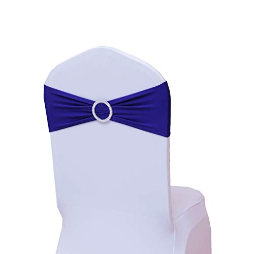 Fvstar 10pcs Royal Blue Party Chair Sashes Wedding Chair Ribbons Spandex Chair Cover Ties Bows for Baby Shower Valentines Decorations Without White Covers