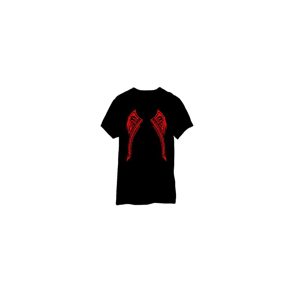 LED Sound Activated Red Tribal Tattoo Wings T Shirt   Extra Large