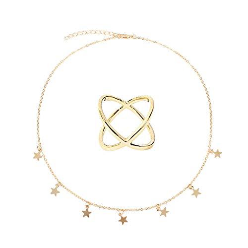 - LILICHIC Elegant Delicate Star Necklace, Creative Pendant Cocktail Dress Jewelry Chain Women's Valentine Wedding Gift