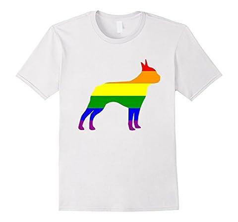 Mens Gay Pride Boston Terrier T-Shirt 2XL White - Gay Pride Dog T-shirt