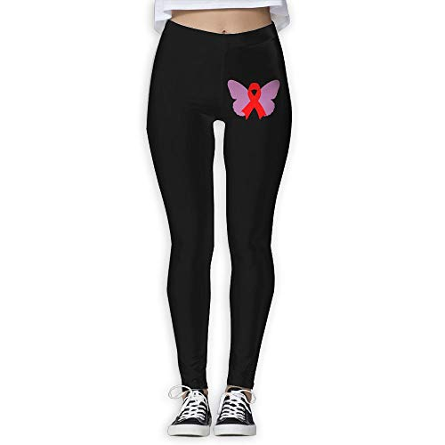 NO2XG Pink Ribbon Butterfly Breast Cancer Awareness Women's Full-Length Yoga Leggings Workout Running Yoga Sports Pants by NO2XG