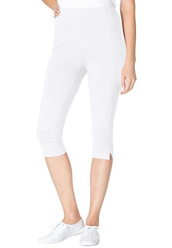 Woman Within Women's Plus Size Stretch Cotton Capri Legging - White, 1X ()