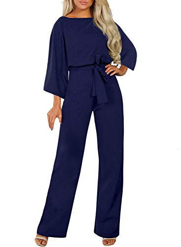 Happy Sailed Womens Elegant Jumpsuit High Waist Crewneck Overall Long Sleeve Blue Romper Playsuits with Belts Large