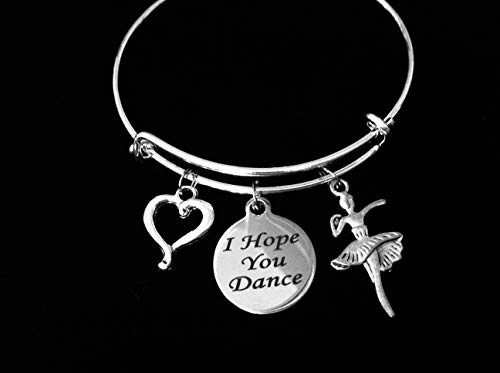 (I Hope You Dance Silver Expandable Charm Bracelet Wire Bangle Adjustable Dancer Ballet Teacher One Size Fits All Gift Personalization and Custom Options Available)