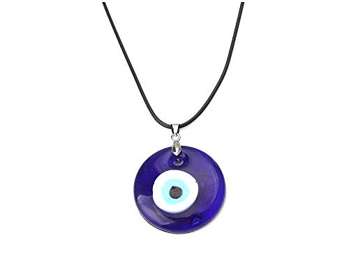 (JOYID Evil Eye Pendant Necklace Glass Leather Rope Chain Turkish Protact Lucky Necklace Women Men)