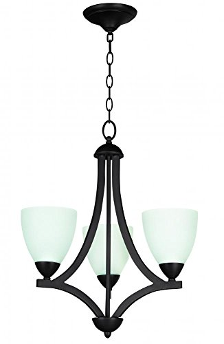 Chandelier Frosted 1 Glass Tier - Jeremiah 37723-OB-WF Almeda 3 Light Chandelier with White Frosted Glass, Old Bronze