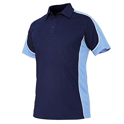 CRYSULLY Men's Casual Turn-Down Collar T-Shirt Short Sleeve Airsoft Tee Shirt Sport Polo Shirt Blue