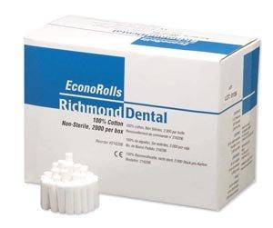 Richmond Dental 216206 Economy Cotton Roll, Non-Sterile, 3/8'' Diameter, 1-1/2'' Length, Medium (Pack of 2000) by Richmond Dental
