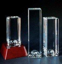 Crystal World Column Tower Crystal Award - Large ()