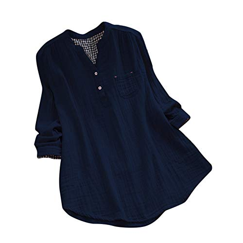 GOVOW Long Sleeve Plaid Panel Lace up Tunic T Shirt Ladies Loose Blouse Pullover Button Tops Shirt(US:4/CN:S,Navy) -