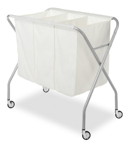 Whitmor 3 Section Laundry Sorter - Collapsible with Heavy Duty - Wheels Sorter Laundry