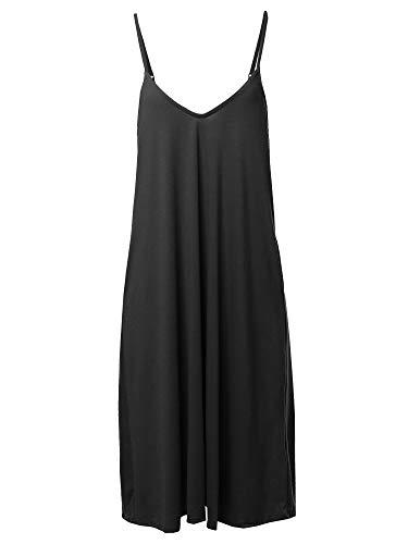 (Awesome21 Solid V-Neck Cami Knee Length Dress Black L)