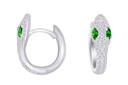 14k Serpentine Earrings - Wishrocks Simulated Cubic Zirconia With oval Emerald Serpentine Hoop Earrings In 14K White Gold Over Sterling Silver