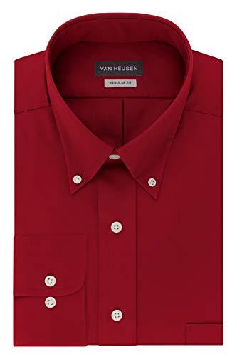 Van Heusen Regular Fit Twill Solid Button Down Collar Dress Shirt, Scarlet, XX-Large