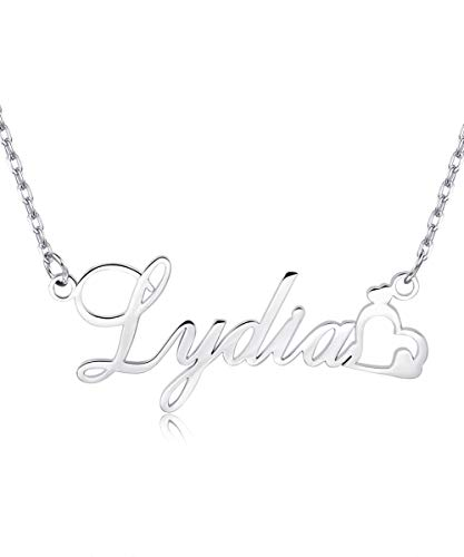 (EVER2000 Custom Name Necklace Heart, 925 Sterling Silver Personalized Charm Pendant Any Name)