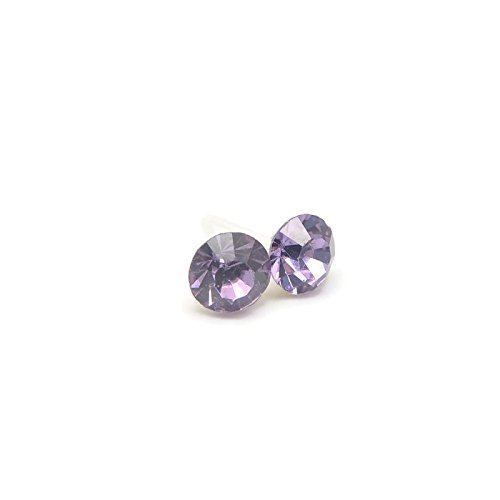 8mm Large Round Glass Rhinestone Earrings on Plastic Posts for Metal Sensitive Ears, Lilac ()