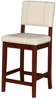 Linon Milano Counter Stool, 18 W x 20 D x 39 H, Medium Cream Dark Walnut